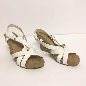 Aerosoles White Wedge Peep Toe Sandals Size 8.5M